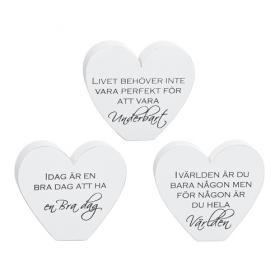 Stående hjärta med text 10 cm