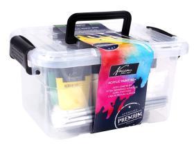Box med akrylfärg och penslar