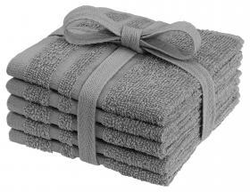 Tvättlappar i frotté 5-pack (Grå)