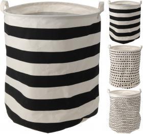 Tvättkorg svart/vit