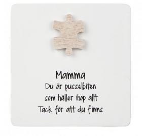 Trätavla med pusselbit -Mamma