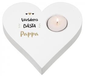 Hjärtformad ljuslykta -Världens bästa Pappa