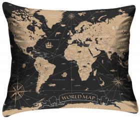 Örngott - Världskartan (svart/guld)