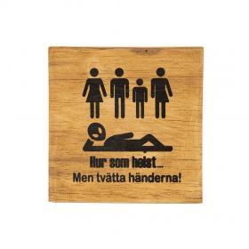 Toalettskylt -Tvätta händerna (träfärgad)