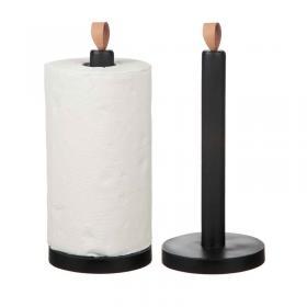 Hushållspappershållare med skinnknopp -Svart