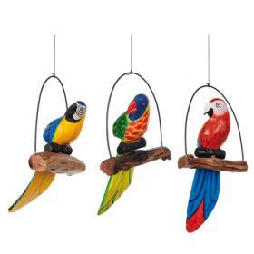 Hängande papegoja i trä 28 cm