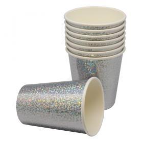 Engångsmuggar 8-p (Holografisk silver)