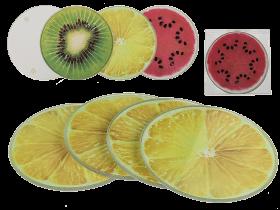 Glasunderlägg med fruktmotiv 4-pack