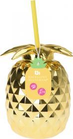 Drickmugg med sugrör -Ananas