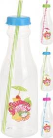 Flaska i plast med sugrör
