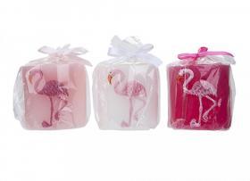 Blockljus -Flamingo 7 cm