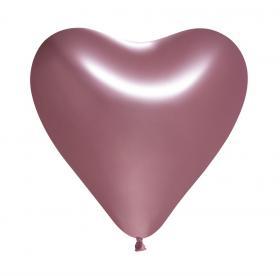 Hjärtformade spegelballonger i 5-pack (Rosa)