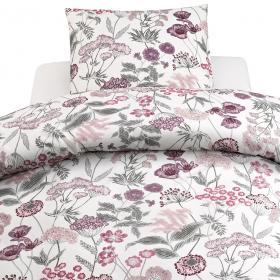 Bäddset -ängsblom rosa/grå