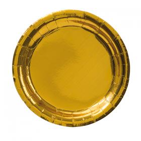 Papperstallrik i 8-pack -Guld