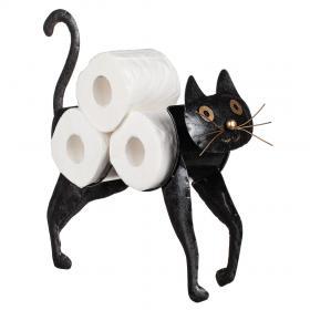 Toalettpappershållare i smide -Katt (Svart)