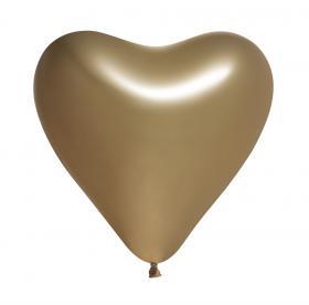 Hjärtformade spegelballonger i 5-pack (Guld)