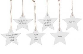Stjärna med olika texter