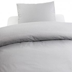 Bäddset spjälsäng -Gingham Stripe (grå)
