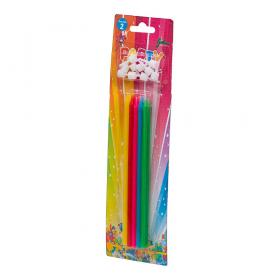 Långa födelsedagsljus i 10-pack (färgglada)