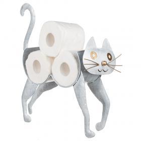 Toalettpappershållare i smide -Katt (Vit)