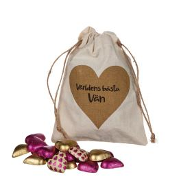 Säck med chokladhjärtan (Världens bästa vän)