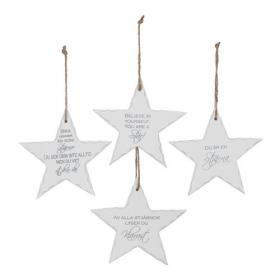 Hängande stjärnor med text