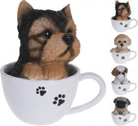 Prydnad -Hund i kaffekopp