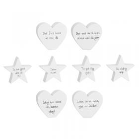 Stående hjärta/stjärna med uppmuntrande budskap