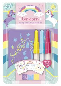 Unicorn spray pennset med stenciler