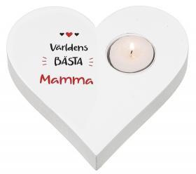 Hjärtformad ljuslykta -Världens bästa Mamma