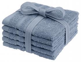 Tvättlappar i frotté 5-pack (Mellanblå)
