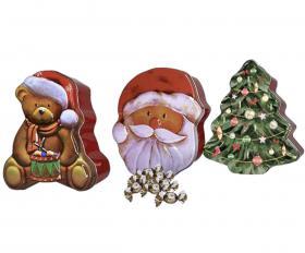 Plåtask med julmotiv fylld med praliner