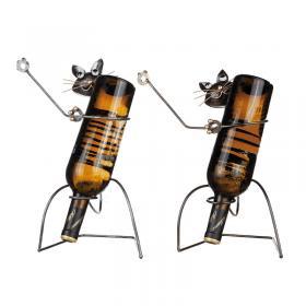 Flaskhållare i smide -Katt