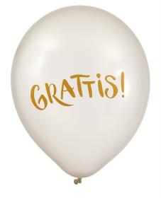 Pärlemovita ballonger i 6-pack -Grattis!