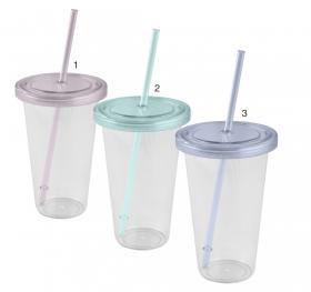 Plastglas med lock och sugrör