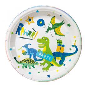 Papperstallrik i 8-pack -Dinosaurie