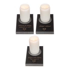 Ljushållare för gravljus i granit