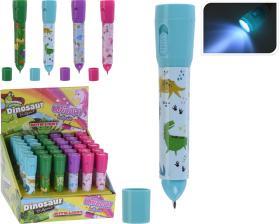 Penna med ficklampa -Enhörning/dinosaurie