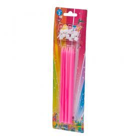 Långa födelsedagsljus i 10-pack (rosa)