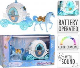 Häst och vagn med färgskiftande ljus