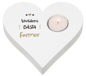 Hjärtformad ljuslykta -Världens bästa Farmor