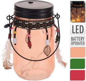 Hängande glasburk med LED