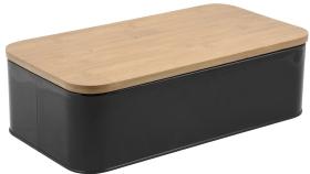 Brödbox -metall/bambu svart