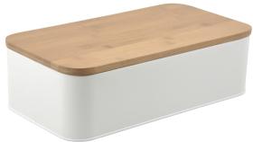 Brödbox -metall/bambu -vit