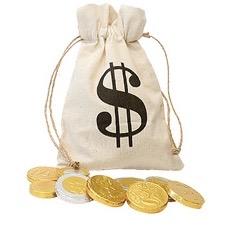 Säck med chokladpengar